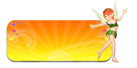 Illustration of a fairy in front of a yellow and orange summer themed header banner on a white background Stock Illustration - 14326262
