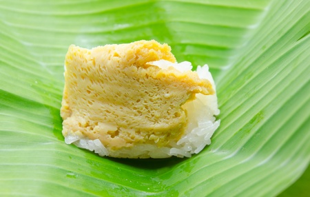 thai dessert: Thai dessert, Sticky rice with steamed custard, wrapped in banana leaves