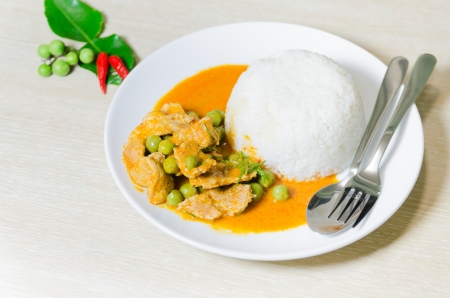 dish disk: Dried red pork coconut curry  Panaeng    Delicious and famous Thailand food