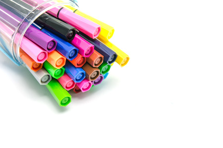 Multicolored Felt Tip Pens on White Background Stok Fotoğraf