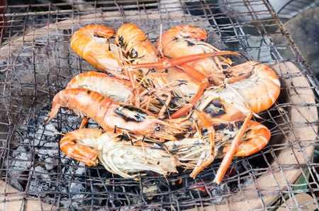 Seafood, Fresh shrimp lay eggs place on the grill photo