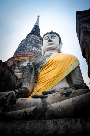 Old Buddha statue in temple at Ayutthaya, Thailand photo
