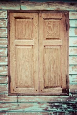 Wooden window, vintage processed photo