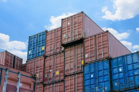 industrial port with containers photo