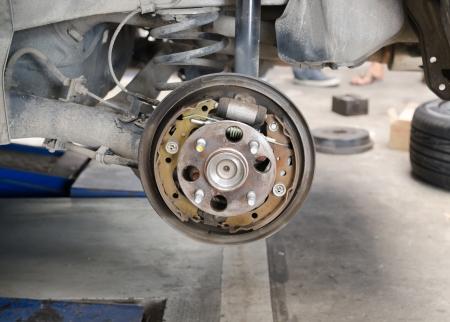 Old brake pads and cylinder brake drum photo