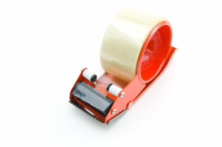 packing tape: Packing Tape Dispenser and Adhesive Tape on white background