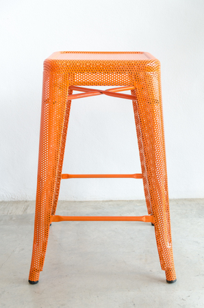 stool: Orange stool steel , styled decor