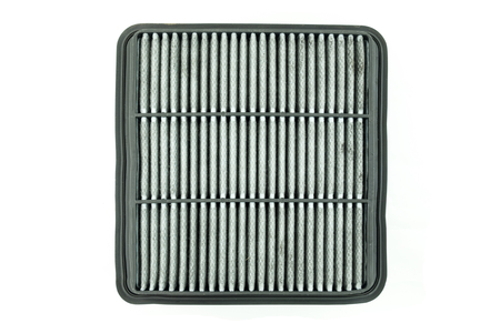 spare part: dirty air filter for car, automotive spare part Stock Photo