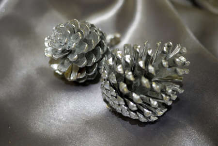 silver luxury pine cone Stock Photo