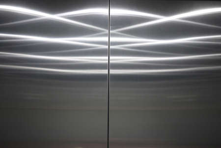 closed stainless steel elevator door
