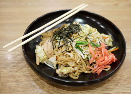 yakisoba is the japanese style noodle. usually served with marinated ginger Stock Photo