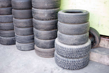 Stacks of used car tires Stock Photo - 17307492