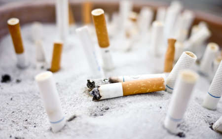 many cigarette butts in the ashtray Stock Photo - 17332266