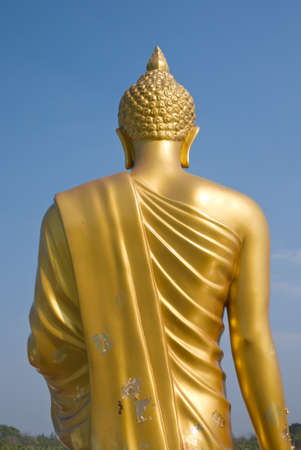 Golden buddha from the back Stock Photo
