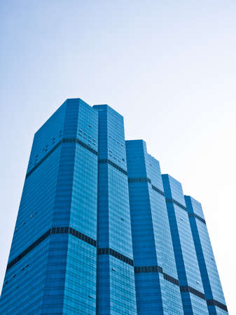 High rise and modern building in shade of blue