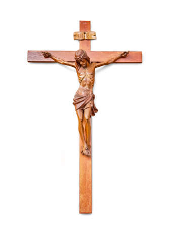 Wooden jesus cross isolated on white background Stock Photo