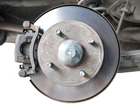 standard steel: Standard car disc brake isolated on white background Stock Photo