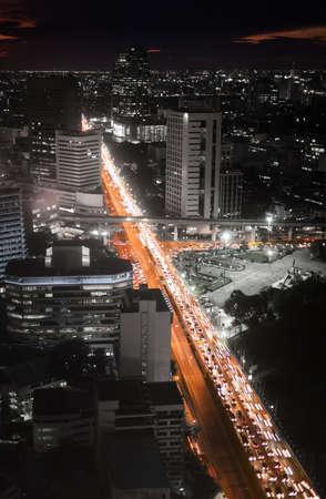 Bangkok highway traffic jam at night  Aerial shot