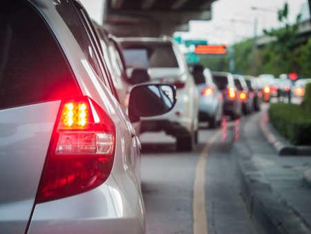 Car queue in the bad traffic road  Selective focus