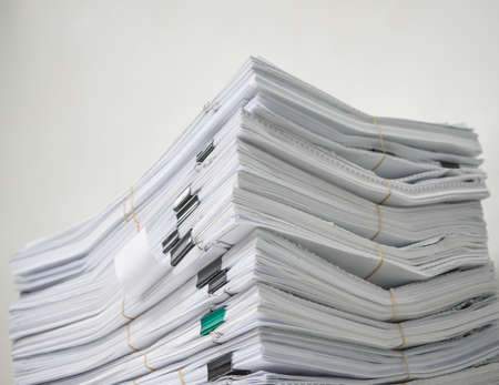 government: Pile of documents stack up high waiting to be managed Stock Photo