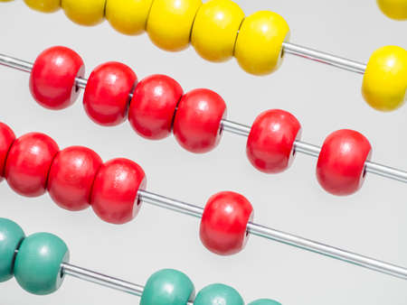 Rails of abacus closeup able to use in concept of children brain development with mathematical skill Stock Photo