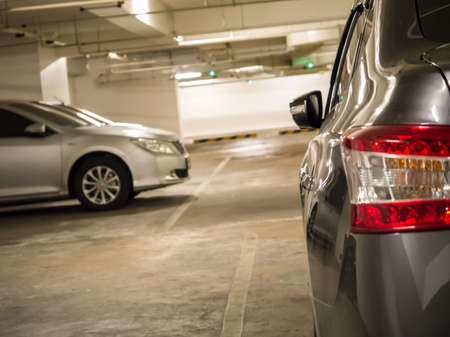 Cars parking inside the underground car parking space