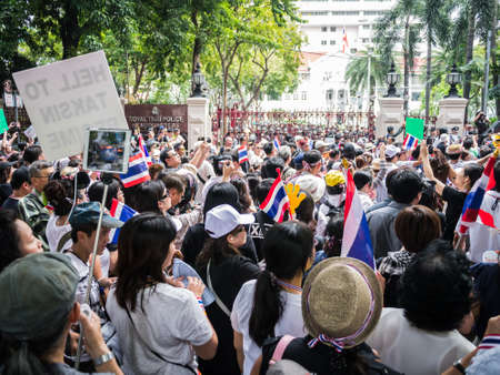 BANGKOK, THAILAND - NOVEMBER 11, 2013  Protesters standing in front of the police headquarter to fight against amnesty bill