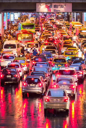 BANGKOK, THAILAND - AUGUST 22, 2013  Very bad traffic of Bangkok city in the evening after rain  The number of vehicles registered in Bangkok rose to 7 5 million but the Bangkok Metropolitan Authority says the city can only accommodate 1 6 million vehicle