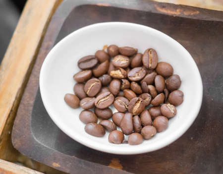 Close up of brown roasted coffee beans Stock Photo