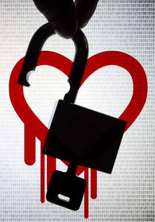 Silhouette hand picking up the unlock padlock with digital number and heart bleed  photo