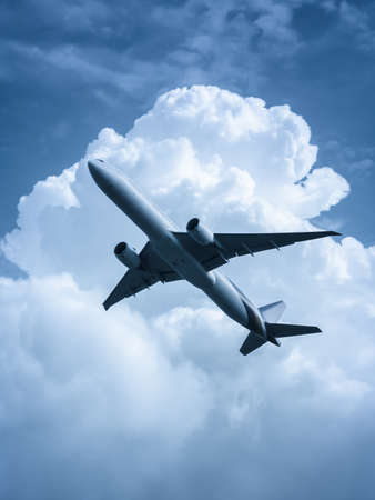 Large passenger airplane flying in the strange sky in concept of cautious traveling