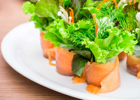 Salmon organic vegetable roll, a Vietnamese-Japanese fusion, clean and good food for healthy eating Stock Photo
