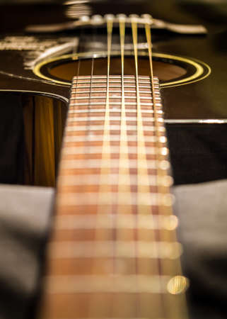 fret: Guitar string, shallow depth-of-field, processed in warm tone Stock Photo