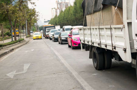 slow lane: Car queue in the bad traffic road in the morning Stock Photo