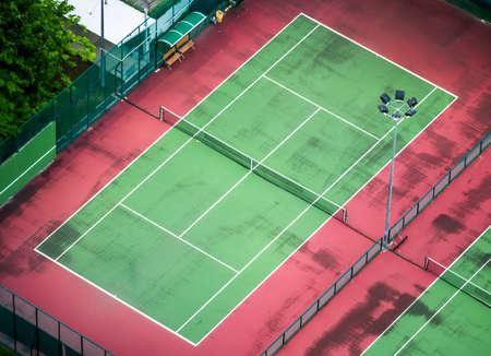 The old tennis court shot in birds eye view