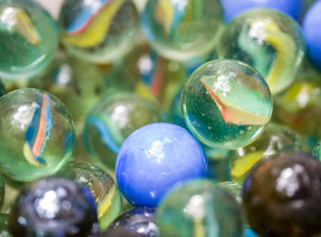Macro shot of many glass beads the old toy