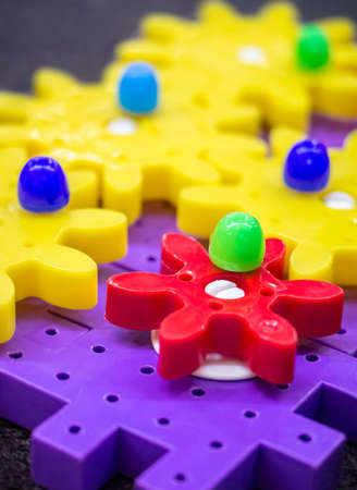 Colorful plastic gears the education toy good for child Stock Photo