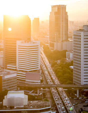 Aerial view of sunset in the Bangkok city with a very long traffic queue Stock Photo