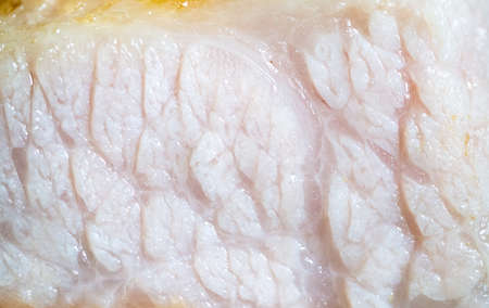 Macro shot: Cross section of the juicy pork steak showing the fat and tissue texture
