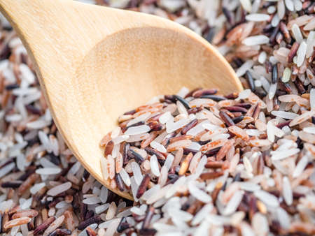 Macro shot of mixed raw rice agricultural product in wooden spoon
