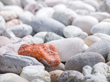 uniqueness: Orange stone among other stones in concept of uniqueness
