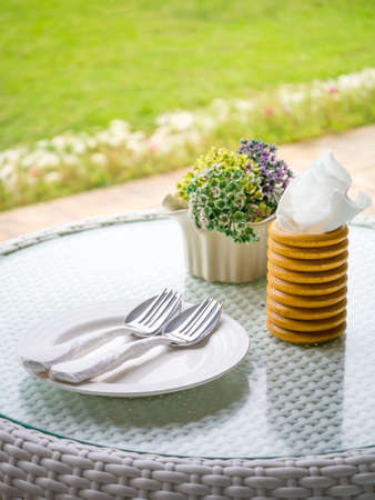 Well prepared dining table beside the green garden