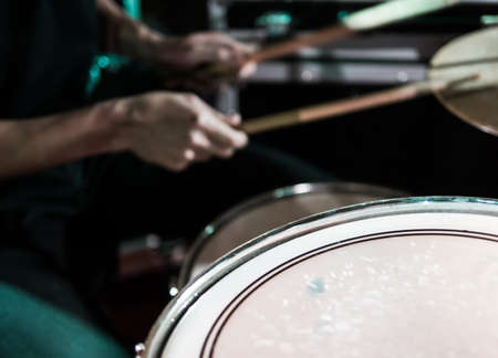 snare drum: Abstract of drummer playing music in low key selective focus on snare drum Stock Photo