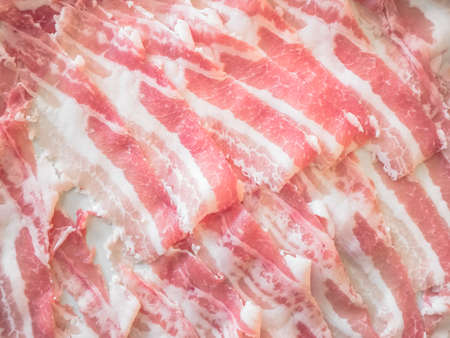 So many raw bacon to be cooked Stock Photo
