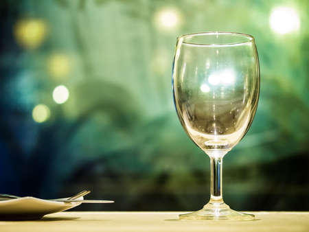 Empty glass on elegance dinner table abstract of fine dining