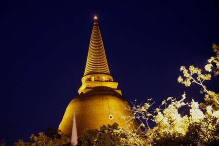 dhamma: Prapathomjedi temple  on night Nakhonpathom Thailand