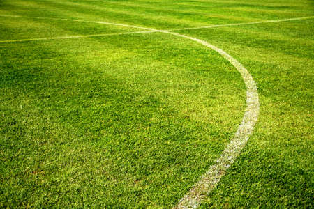 white curve line on beautiful green Football field