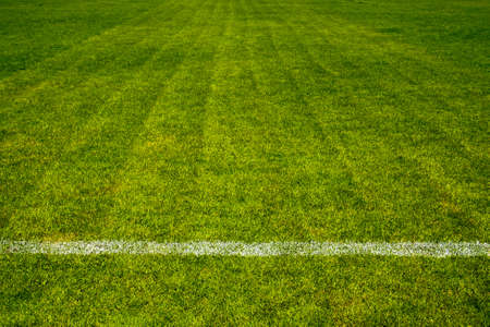 white straight line separate on beautiful green Football field Stock Photo