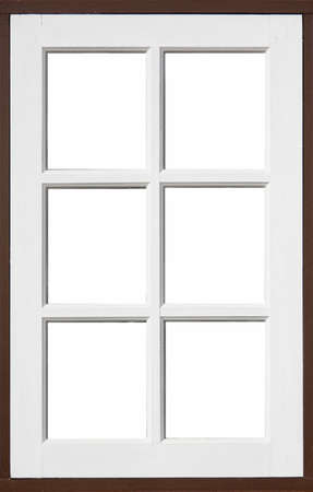 frame of wood window with white, brownd color and white background photo