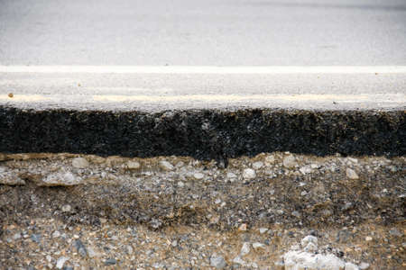 Layer of asphalt road was scour, Corrode, well-worn and clipped Stock Photo
